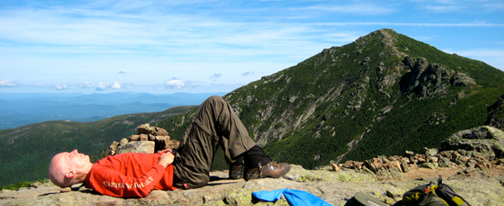 Constructive Rest on the Appalachian Trail approaching summit of Mt. Lafayette